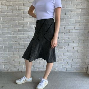 Black Herringbone Midi Skirt Diagonal Seams Sz 4